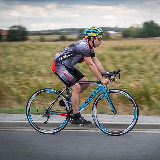 SAVA Bicicleta de Carretera de Carbono, Bicicleta de Carretera Warwinds5.0 700C de Fibra de Carbono con Sistema de Cambio SHIMANO 105 R7000 22-Velocidad,Neumáticos Continental Ultra Sport II 25C y doble freno en