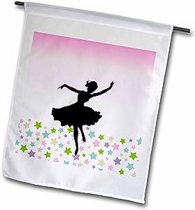 3dRose fl_112812_1 Spinning Ballet Dancer Dancing Amongst The Stars-Pink Graceful Ballerina Silhouette-Girly Dance Garden Flag, 12 by 18-Inch