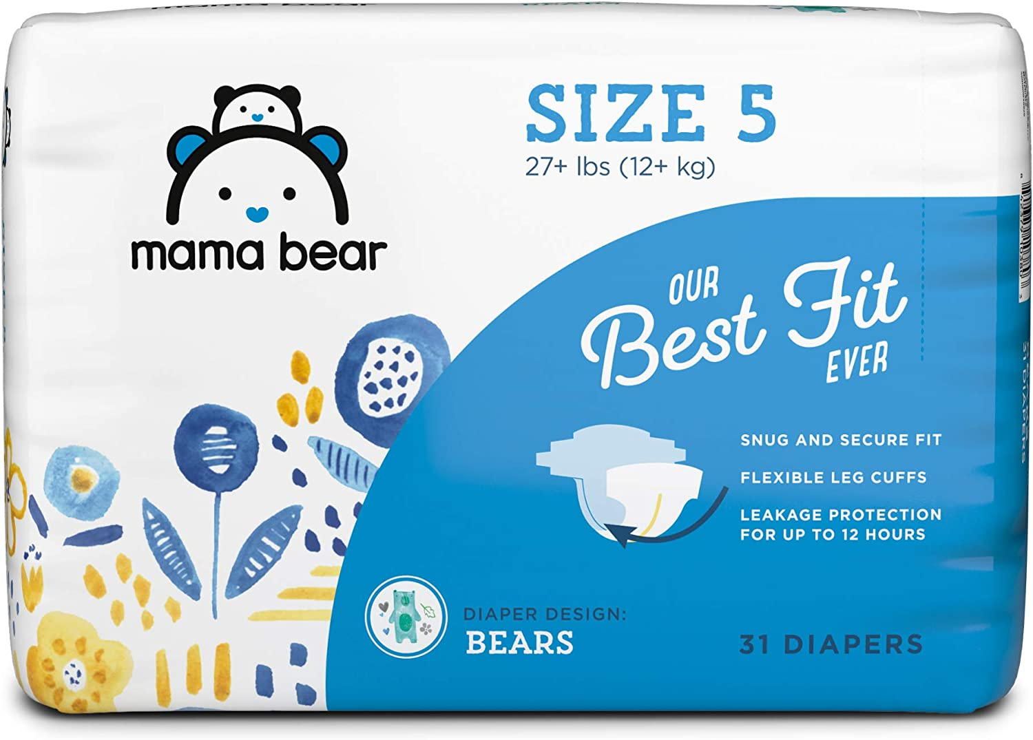 Bears Print 46 Count Brand Mama Bear Best Fit Diapers Size 2 Packaging May Vary
