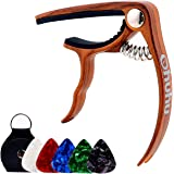 Ohuhu Guitar Capo for Acoustic, Electric Guitars, Ukulele, Zinc Alloy- Quick Change Guitar Capo With Free 5 Picks & Pick Holder( RoseWood Color), Acoustic Guitar Accessories Trigger Capo Key Clamp