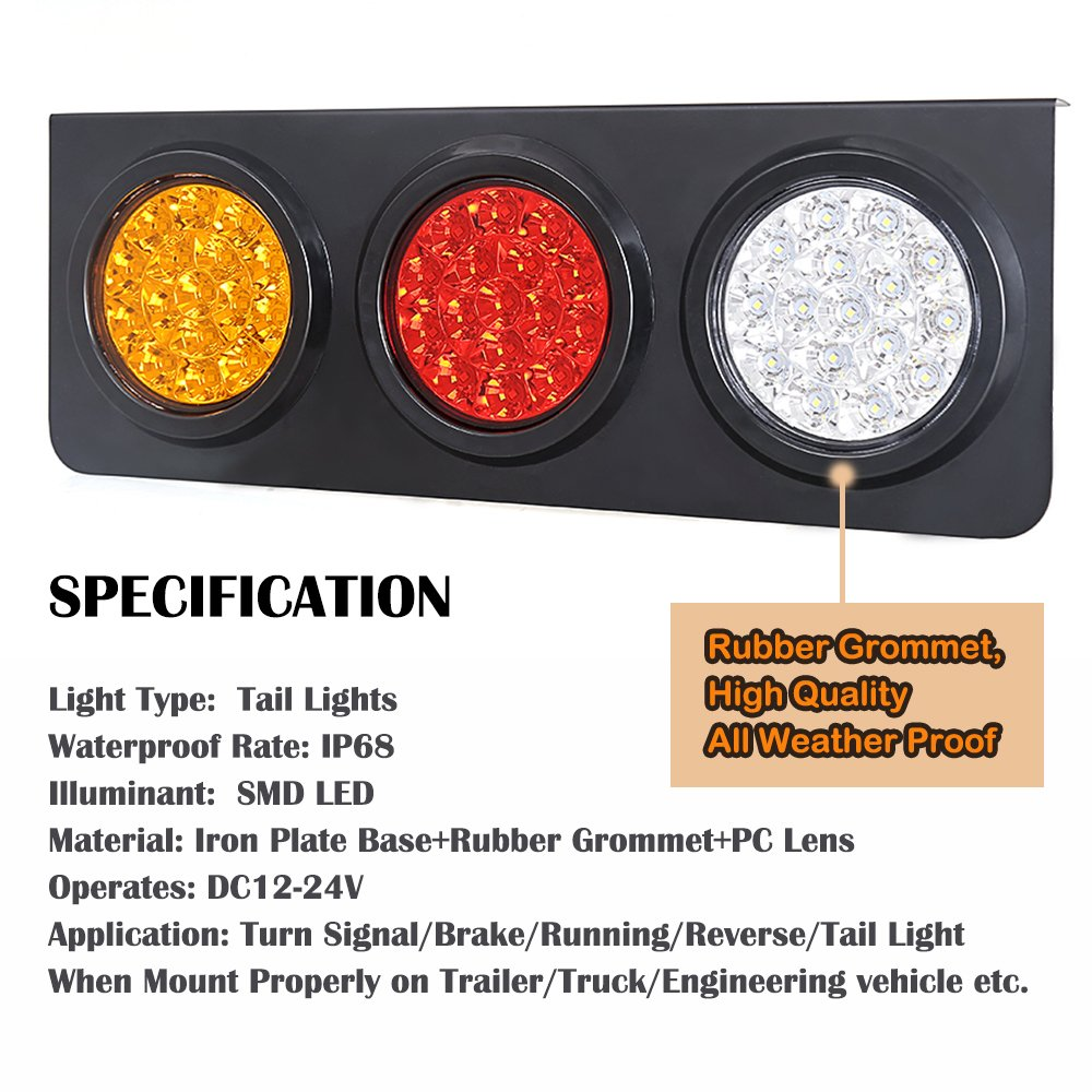 amazon com: led truck/trailer tail lights with iron bracket base -  waterproof dc12-24v 44-led tail light bar for turn/signal/running lamps  fits any
