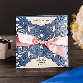 amazon com yuwed 50 blue laser cut wedding invitation cards with