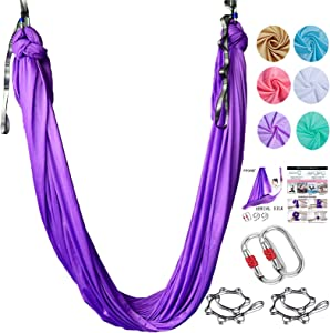 PFONB Aerial Silks - Premium Aerial Yoga Hammock Swing 5.3 x 3 Yards for Antigravity Yoga, Inversion Exercises, Improved Flexibility Core Strength - Daisy Chains, Carabiners and Pose Guide Included