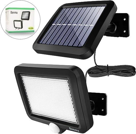 Lámpara solar para exteriores, de Benma, lámpara LED solar para jardín con detector de movimiento, ángulo de iluminación de 120°, resistente al agua, lámpara de pared para jardín(cable de 16,5 pies): Amazon.es: