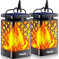 TomCare Solar Lights Upgraded Solar Lantern Flickering Flame Outdoor Hanging Lantern Decorative Lighting Solar Powered…