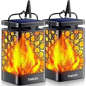 TomCare Solar Lights Upgraded Solar Lantern Flickering Flame Outdoor Hanging Lantern Decorative Lighting Solar Powered Waterproof LED Flame Umbrella Lights for Patio Garden Deck Yard, 2 Pack