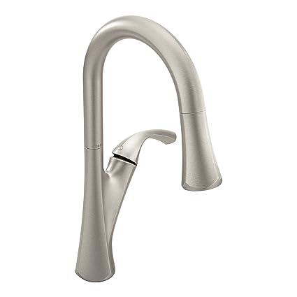 Moen 9124SRS Notch One-Handle High-Arc Pulldown Kitchen Faucet ...