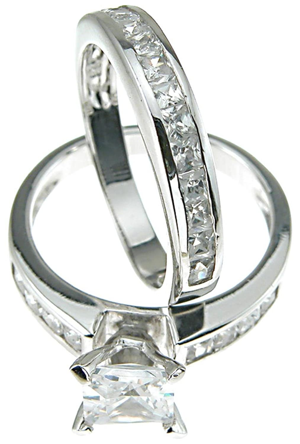 Amazon Princess Cut Wedding Band Engagement Ring Set In 925 Sterling Silver 5 Jewelry