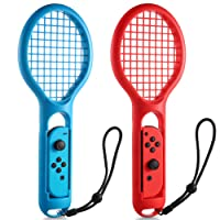 KINGTOP Tennis Racket with Wrist Straps for Nintendo Switch Jon-Con Controllers for Mario Tennis Aces Game - 2 Pack