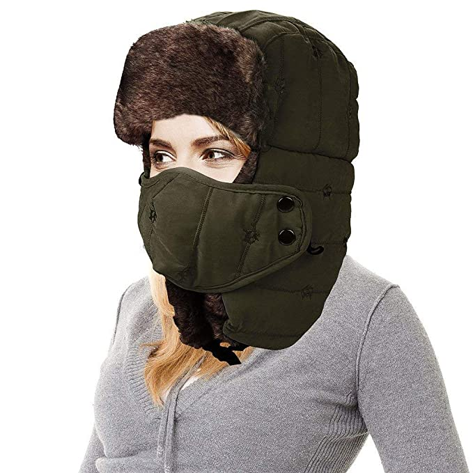 Amazon.com  AMAKU Winter Trapper Hat with Face Mask Fur Ear Flap ... 23def5206b9