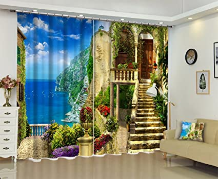 modern window treatments for living room popular lb nature scenery decor modern curtains by seaside villa 3d window treatment living room amazoncom