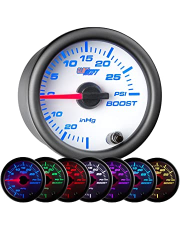 GlowShift White 7 Color 30 PSI Turbo Boost/Vacuum Gauge Kit - Includes Mechanical Hose
