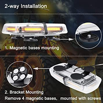 Strong Magnetic Emergency Amber Strobe LED Mini Light Bar, WOWTOU 36W 12V 24V Roof Top Safety Flashing Beacon Hazard Warning Lightbar for Truck Snow Plow Tractor Construction Vehicle Pilot Car