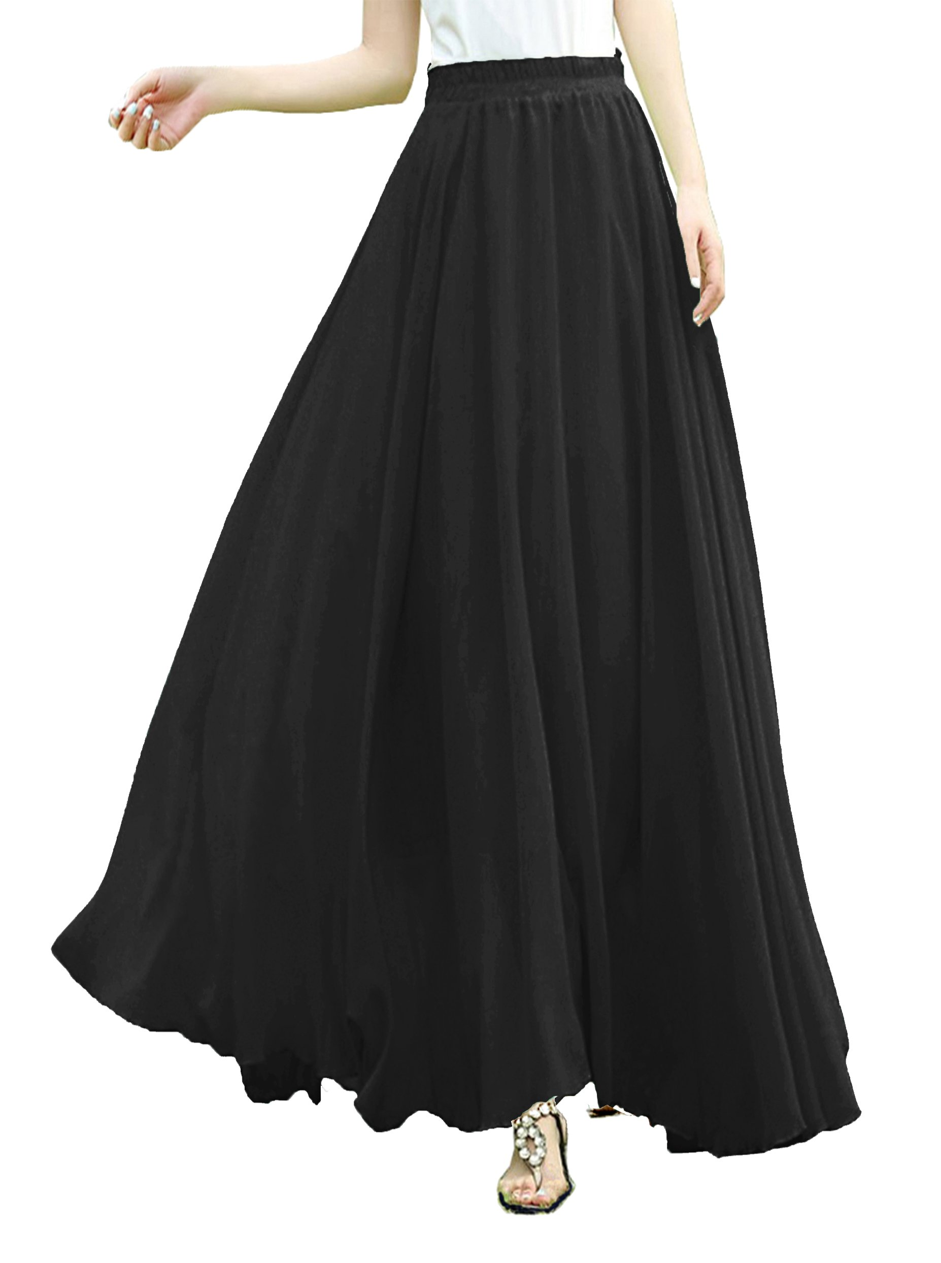 v28 V28Women Full/Ankle Length Elastic Pleated Retro Maxi Chiffon Long Skirt (S, Black)