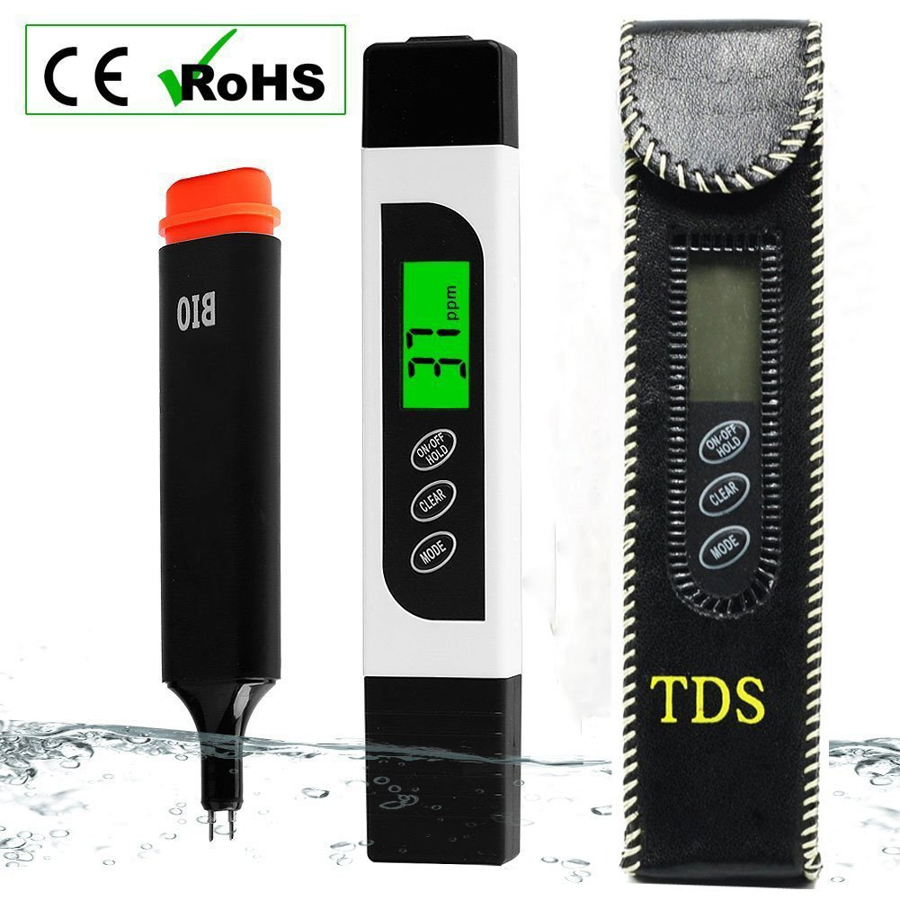 Vitam Amo TDS EC Temperature Meter Digital Water Tester with Backlit LCD, Accurate Professional Testing Ideal for Drinking Water, Hydroponics, Swimming Pools, Aquariums, 0-9990 ppm, 2% Accuracy