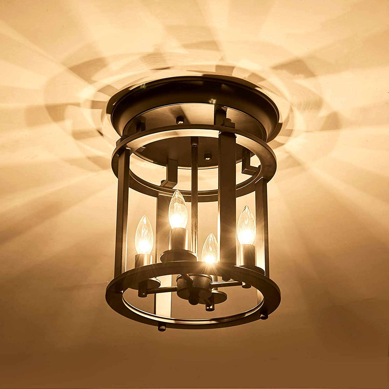 UOFUS Vintage Rustic Ceiling Lighting Fixture, Metal Semi Flush Mount Chandelier ,4 Lights for Dining Room Bedroom Farmhouse Passageway Kitchen Farmhouse Island
