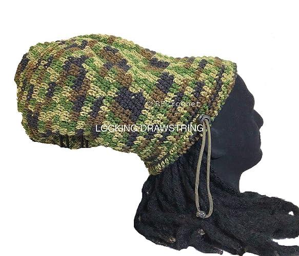bc2c52744b1 Dreadlock Crochet Beanie with Locking Drawstring Green Camo for Long Hair