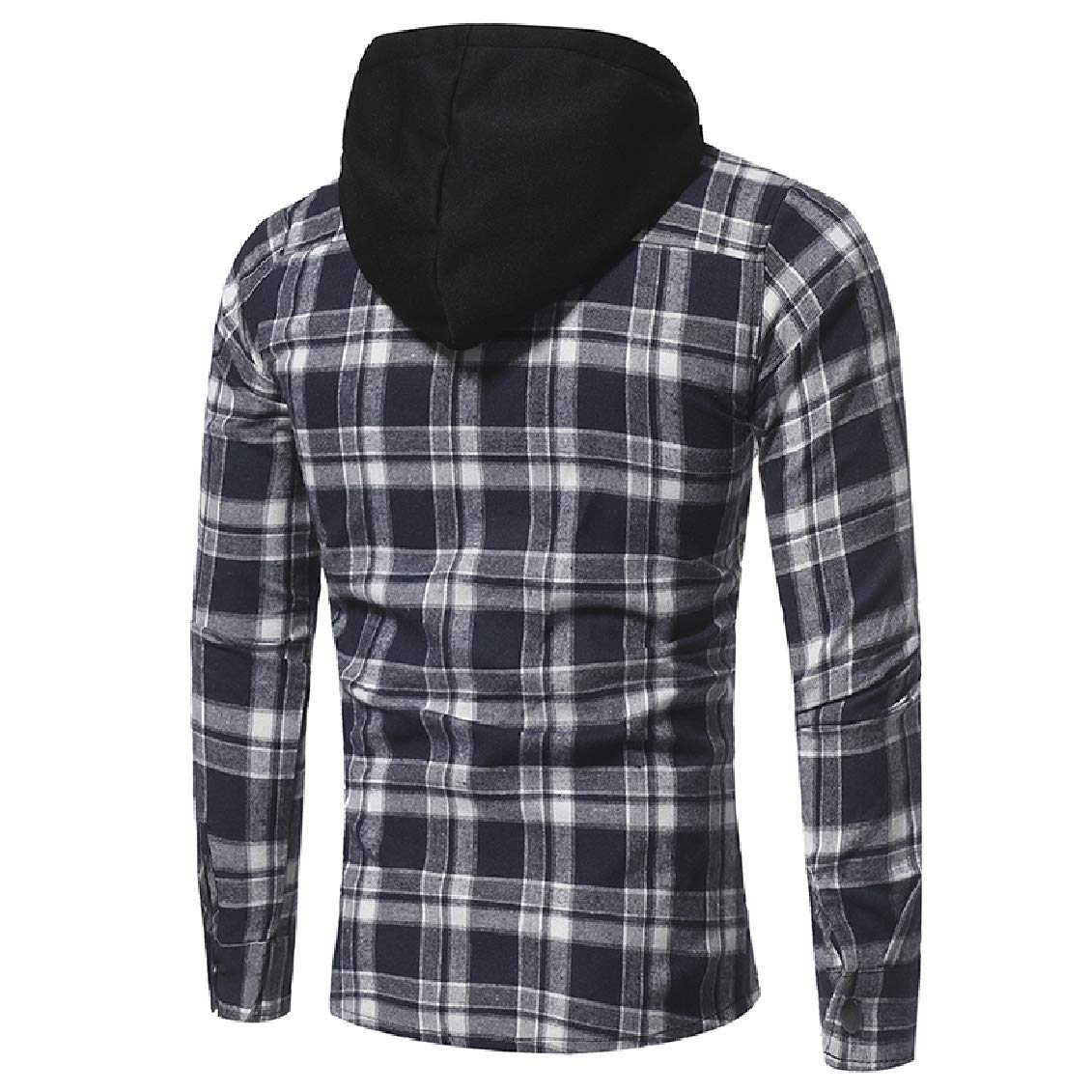 FieerMen Plaid Pocket Hood Long-Sleeved Plus Velvet Button Dress Shirt