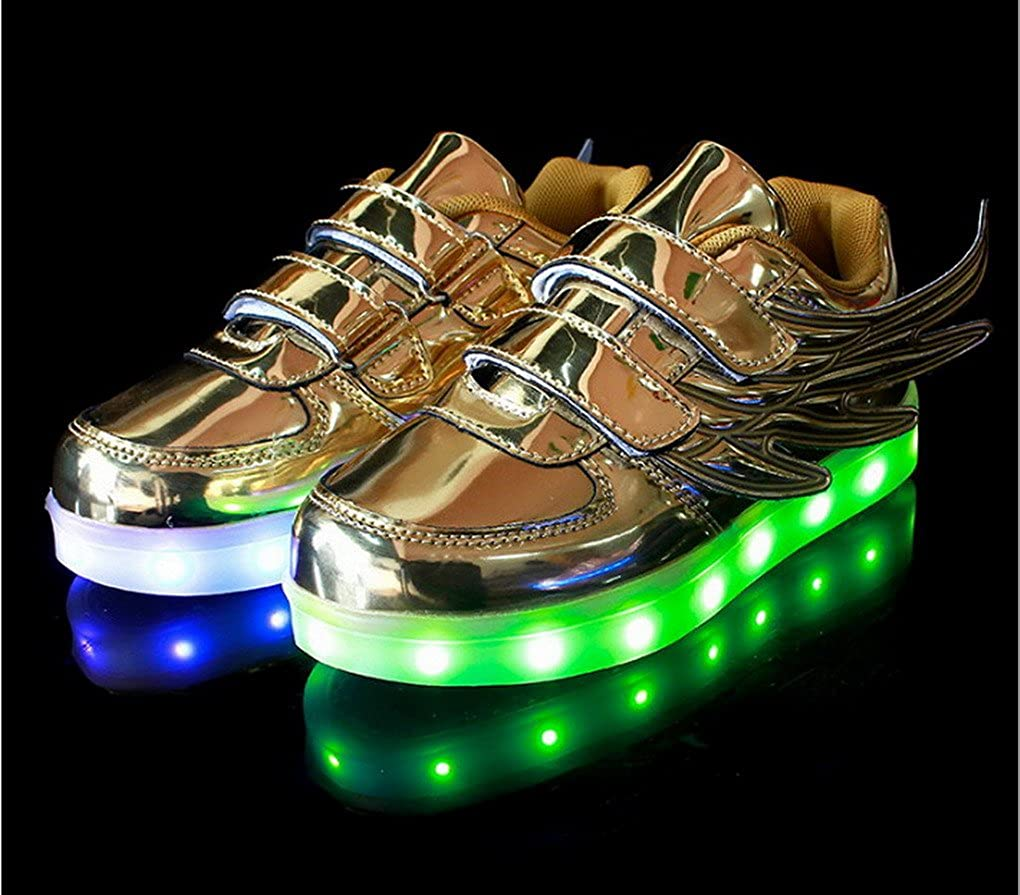 acme Kids USB Charging LED Shoes Boy Girl 7 Colors LED Light up Sneakers Athletic Wings Trainers Low Top Shoes