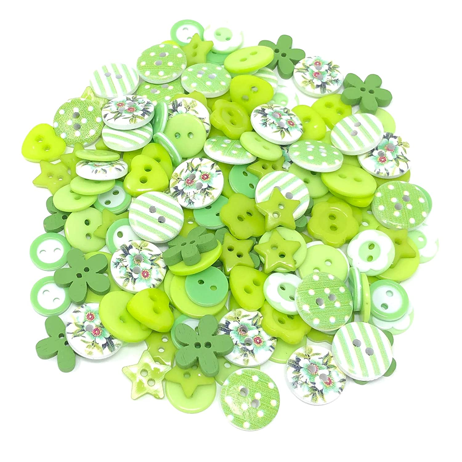 150pcs Green/White Mix Wood Acrylic & Resin Buttons For Cardmaking Embellishments Wedding Touches