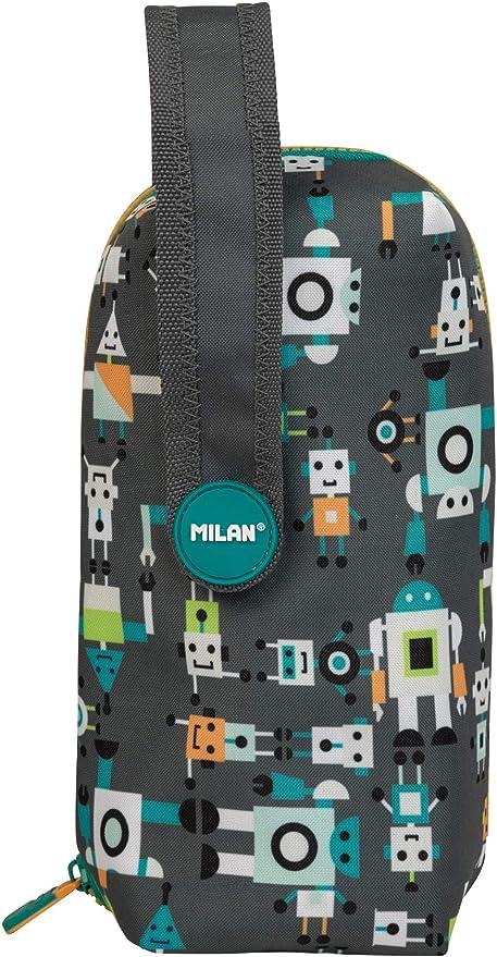 Milan 08872HBGR - Kit 4 estuches con contenido Happy Bots, Gris: Amazon.es: Oficina y papelería