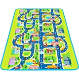 MaMiBabys Kids Activity Creeping Play Mat, Baby Learning Decor Rug with Road Traffic, Infants Educational Car Carpet with City Town Map, Large and Thick for Floor Bedroom Playroom Safe Area Game