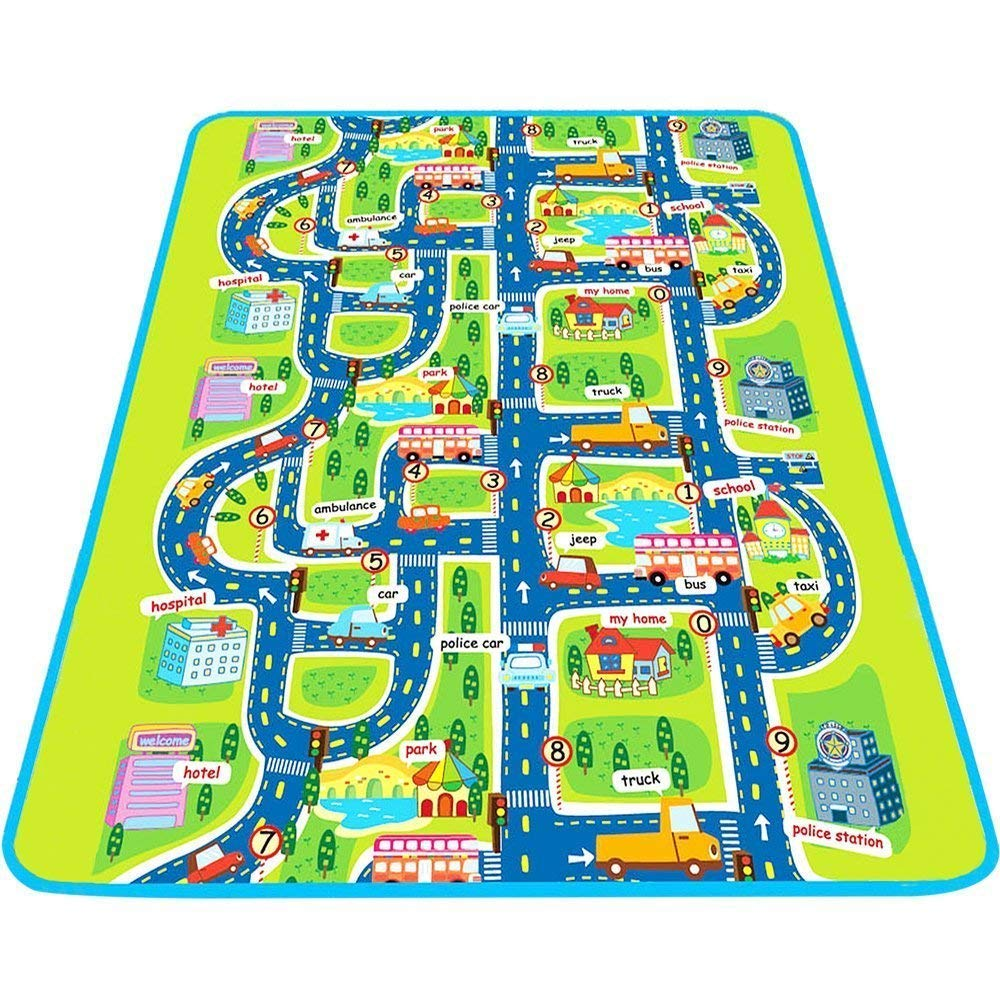 MaMiBabys Kids Activity Creeping Play Mat, Baby Learning Decor Rug with Road Traffic, Infants Educational Car Carpet with City Town Map, Large and Thick for Floor Bedroom Playroom Safe Area Game MID