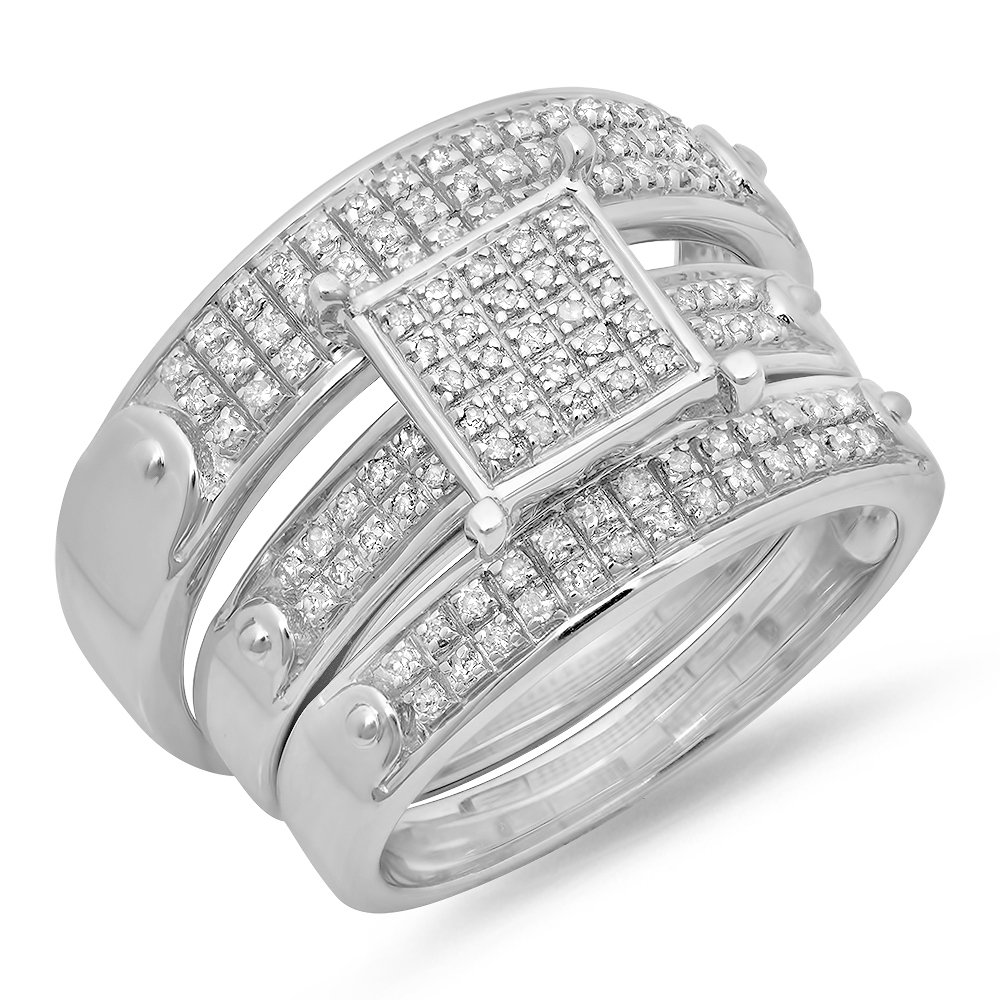 0.40 Carat (ctw) Sterling Silver Round White Diamond Men & Womens Micro Pave Engagement Ring Trio Set