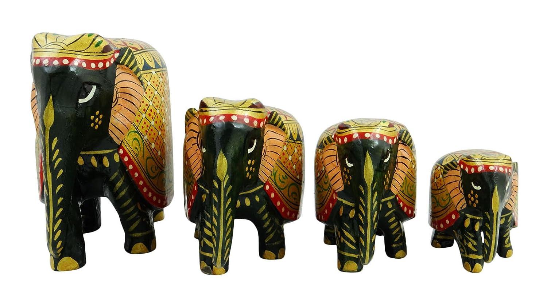 4個のセット木製手彫りStatue象木製彫刻テーブル装飾
