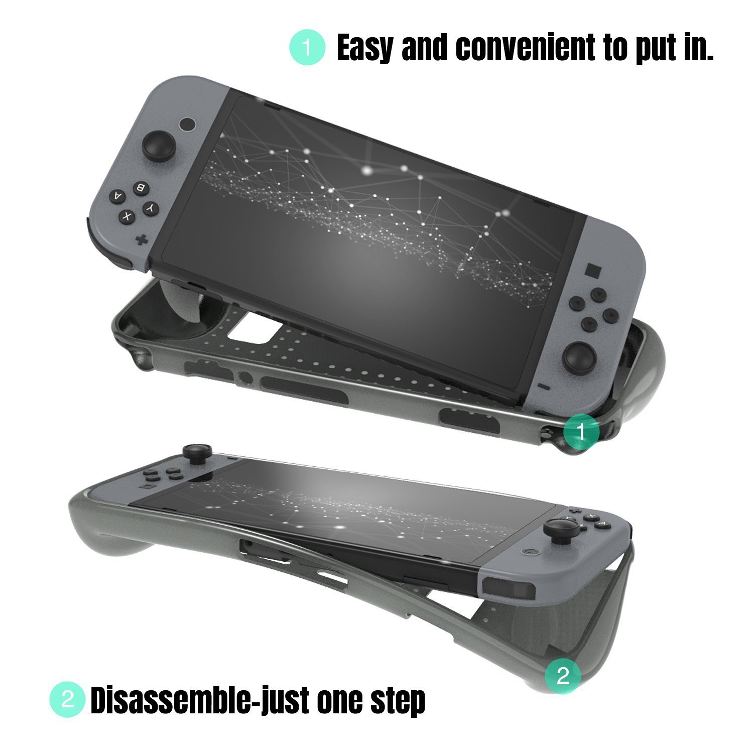 Protective Case for Nintendo Switch, Comfortable Soft TPU Full Body Protection Shock Absorption Heat Dissipation Design Cover Case for Nintendo Switch (Grey)