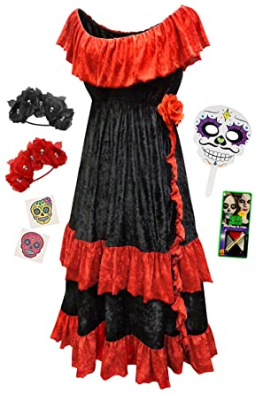 dia de los muertos plus size halloween costume basic kit 0xxl