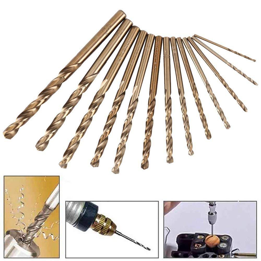 Gizhome High Speed Steel Twist Drill Straight Shank Titanium Twist Drill Hand Drill Hole Set 13 Pack