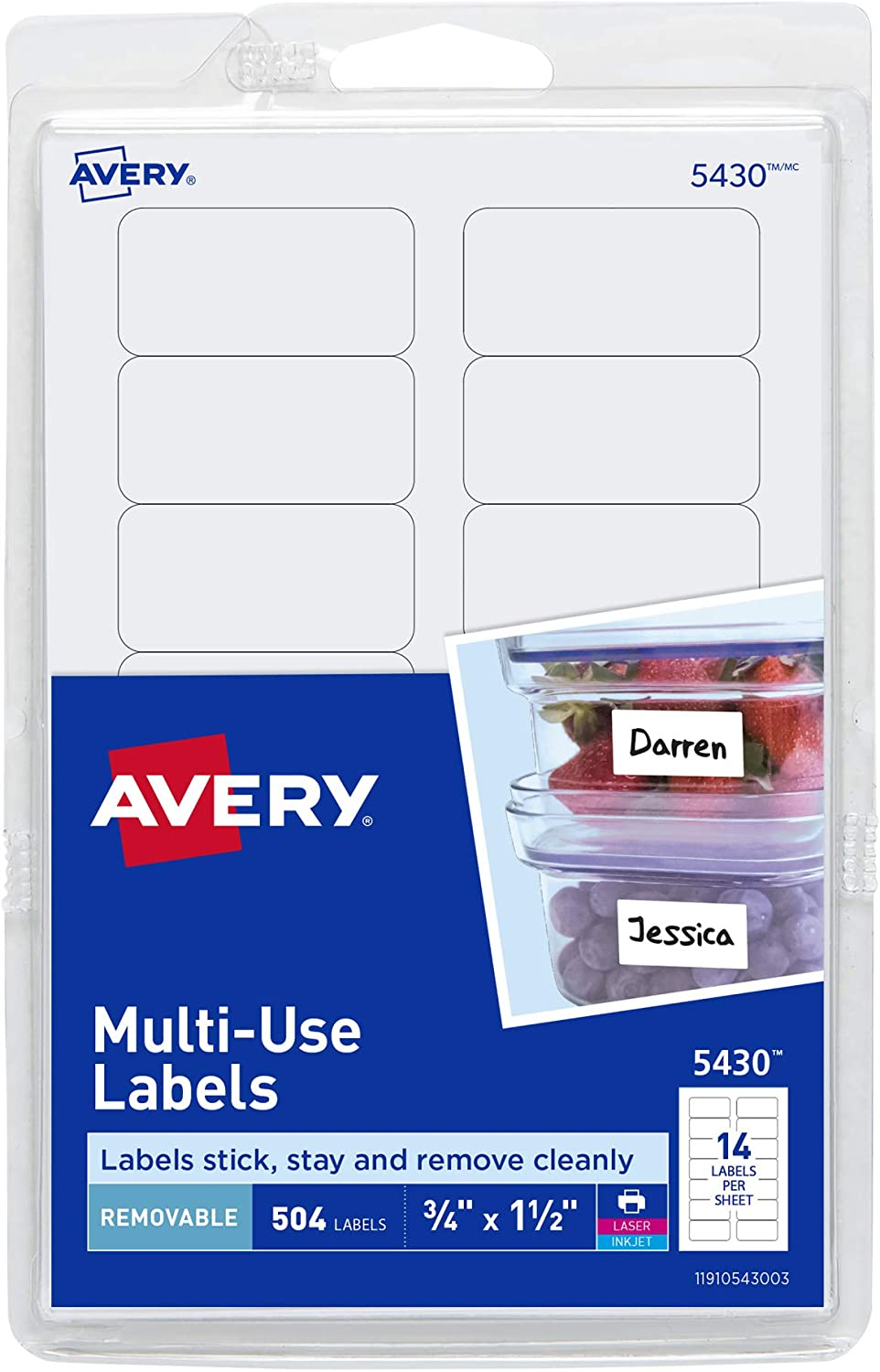 AVERY Removable Labels, Removable Adhesive, .75