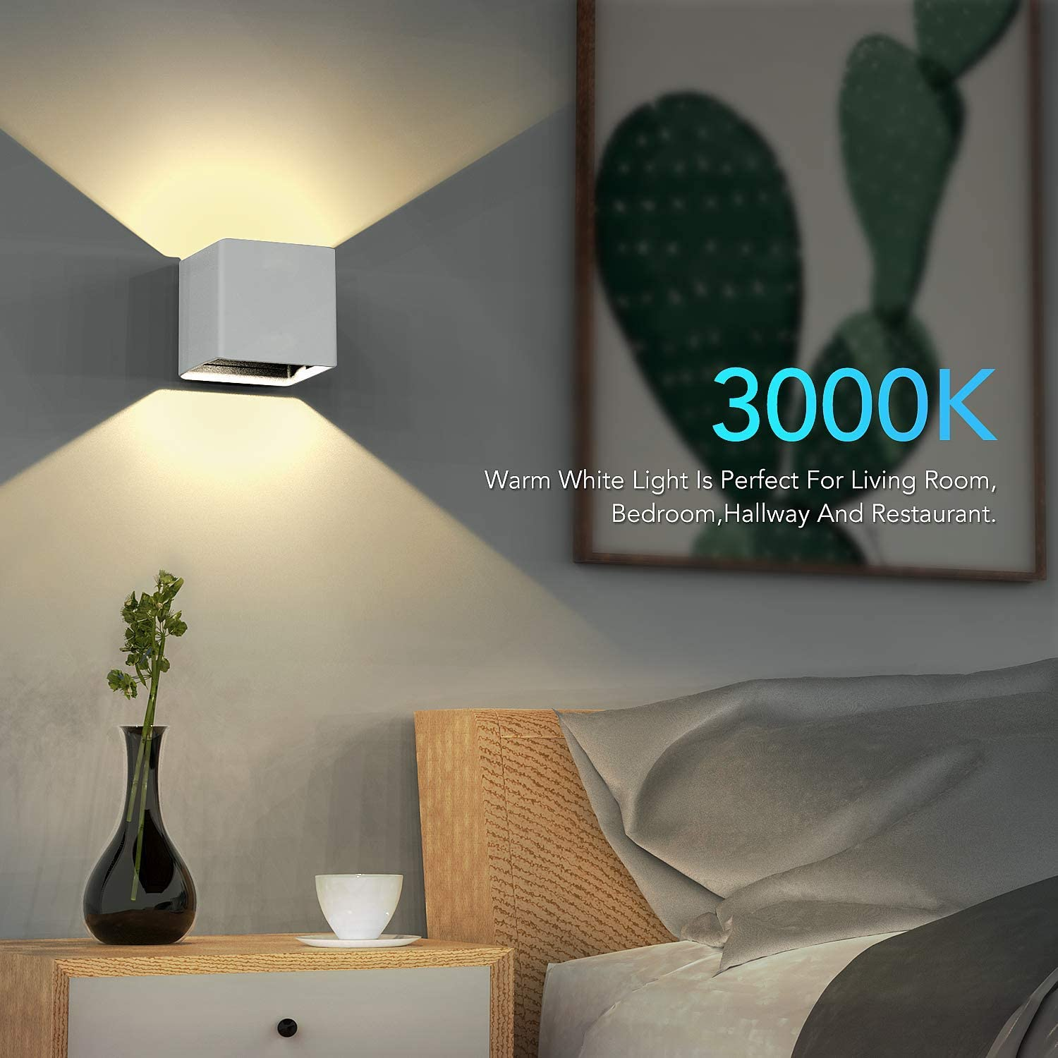 Adjustable Wall Lamp 10W Warm White 3000K Waterproof Lighting Fixtures for Living Room Bedroom Hallway Porch Indoor and Outdoor Black LW06B Hommie LED Wall Sconces
