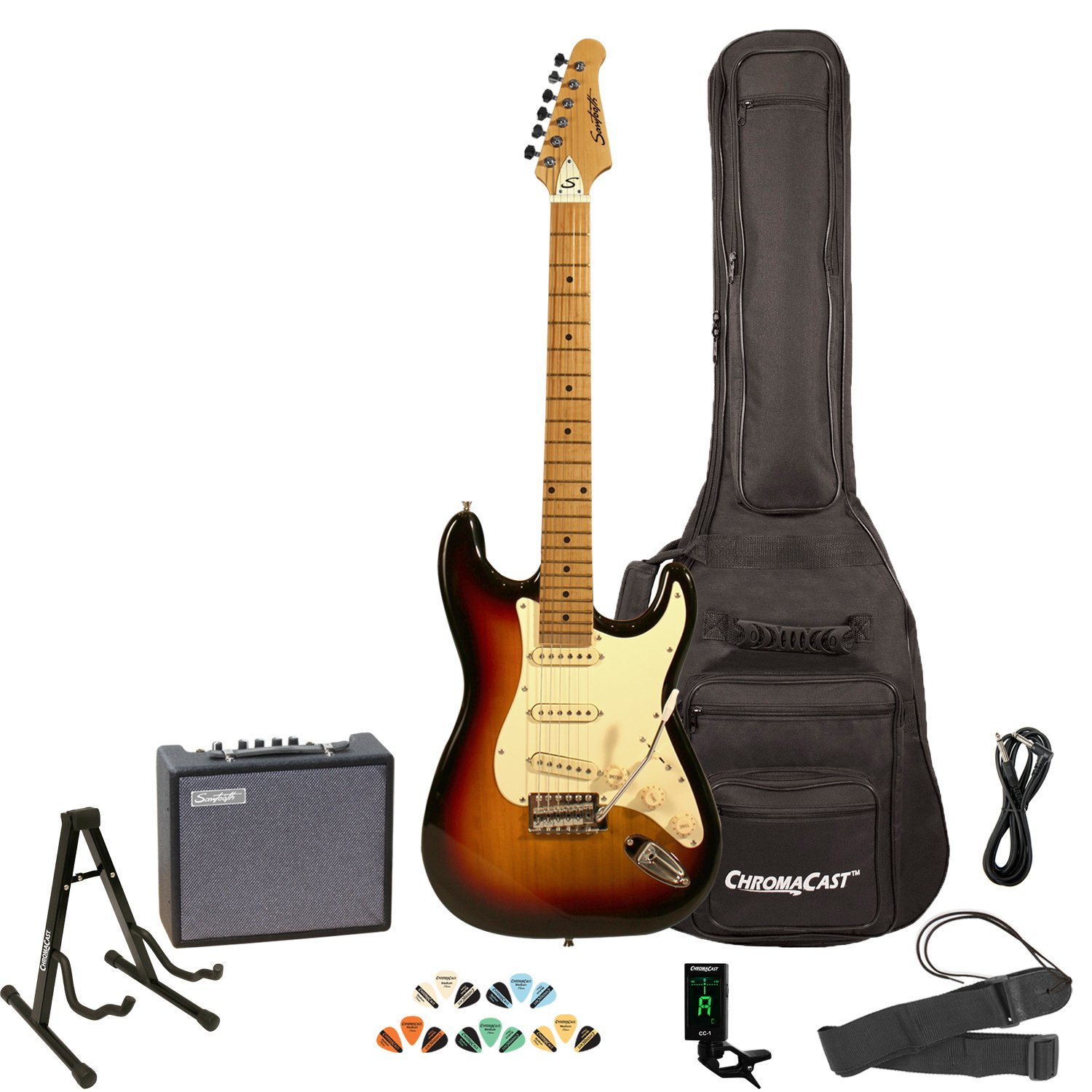 Sawtooth ST-ES-SBVC-KIT-3 Sunburst Electric Guitar with Vintage White Pickguard best beginner electric guitar packages