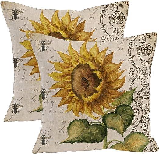 2Pcs Oil painting sunflower Throw Pillow Case Cushion Cover Decorative Cotton Blend Linen Pillowcase for Sofa 18 X 18 Vibrant Yellow Flower Vintage Zippered Throw Pillow Cover Decorative