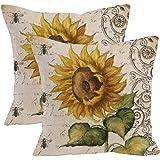 "2Pcs Oil painting sunflower Throw Pillow Case Cushion Cover Decorative Cotton Blend Linen Pillowcase for Sofa 18 ""X 18 "", Vibrant Yellow Flower Vintage Zippered Throw Pillow Cover Decorative"