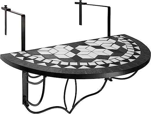 tectake 800570 Table de Jardin Balcon Pliante en Mosaïque - Diverses  Couleurs (Blanc Noir | No. 402767)