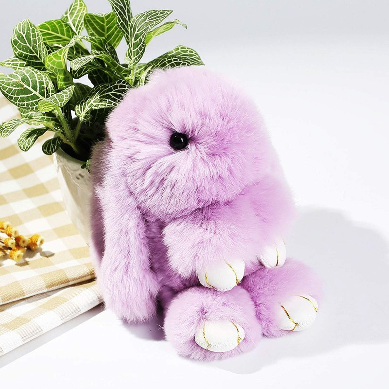 Amazon.com: JEWH Soft Rex Rabbit Furs Keychain / Pendant Bag/ Car Charm /Tag - Cute Mini Rabbit Toy Doll Real Fur Animal Keychains (Purple): Toys & Games