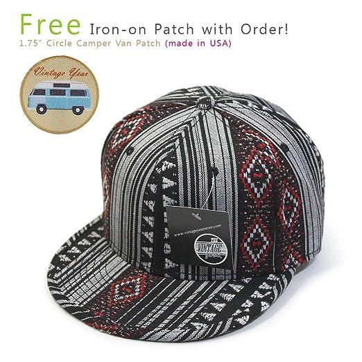 b791d074131 Aztec Cotton Jacquard Trimmed Flat Brim Snapback Baseball Cap(Aztec Red)