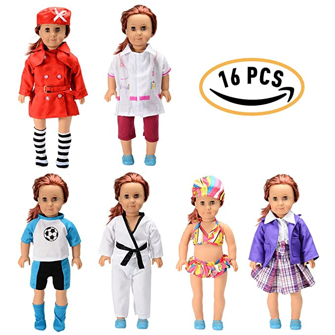 "Sakiyr American Girl Doll Clothes Accessories Set - 6 PACK Complete Outfits Include Stewardess, Doctor, Soccer, Taekwondo, Bikini, School Uniforms for 18"" American Girl Doll (Dolls Not Included)"