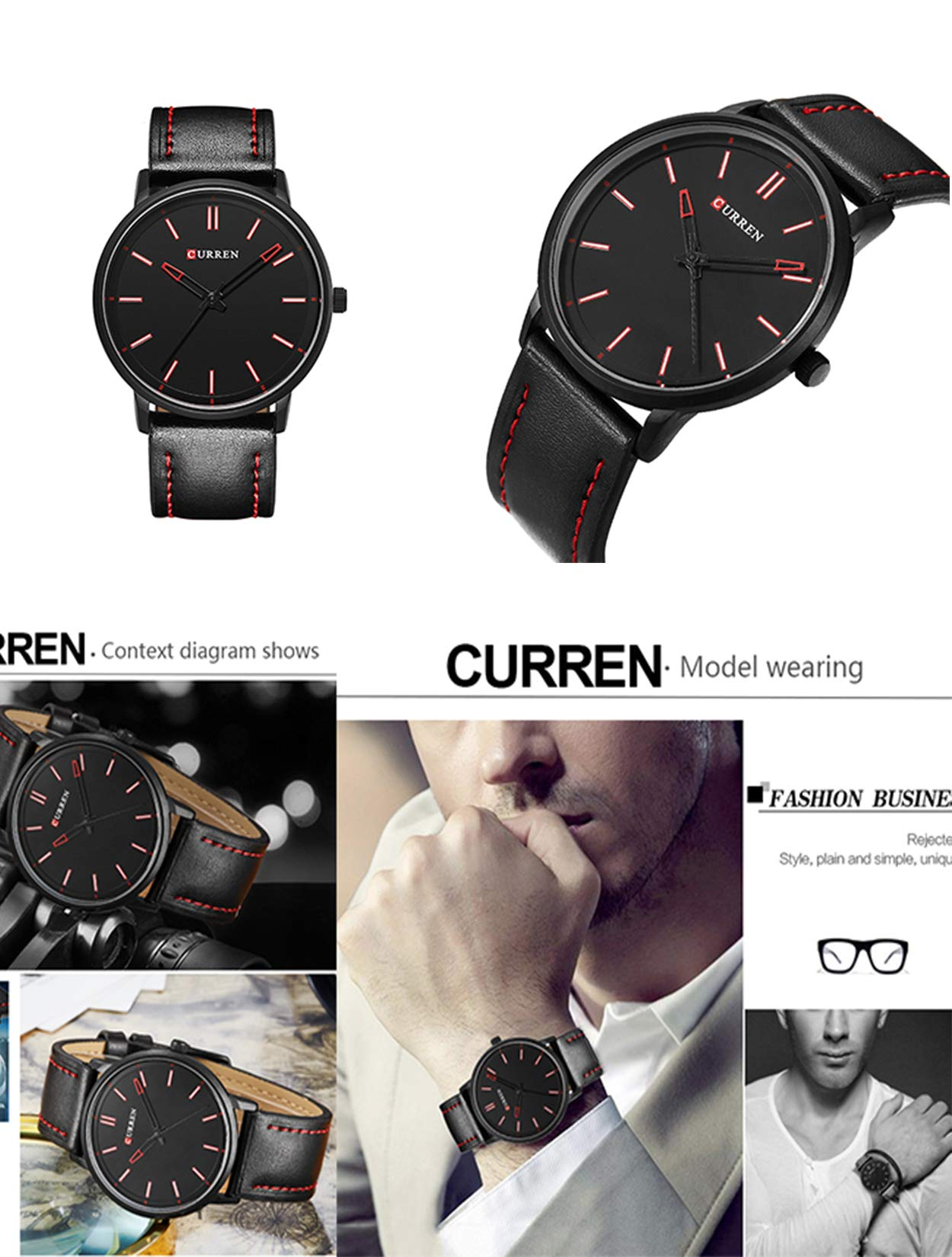 Herren Schwarz Ultradünne Uhr,Armbanduhren für Männer Geschäft Wasserdicht Quarzuhr für Mann mit Schwarzes Lederarmband
