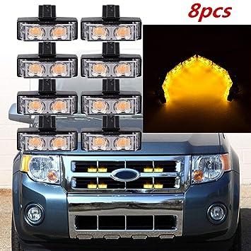 8 Pcs 12V 2LED Amber Car Front Grille Emergency Hazard Strobe Light Beacon Lamps