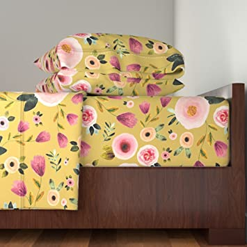 Amazon Roostery Baby Girl 3pc Sheet Set Boho Pink Mustard