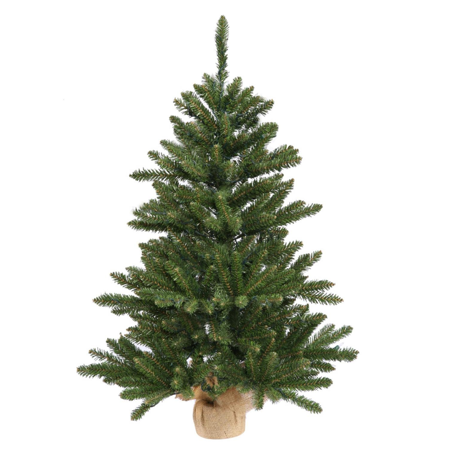 Vickerman 3' x 20'' Anoka Pine Artificial Christmas Tree in Burlap Base - Unlit