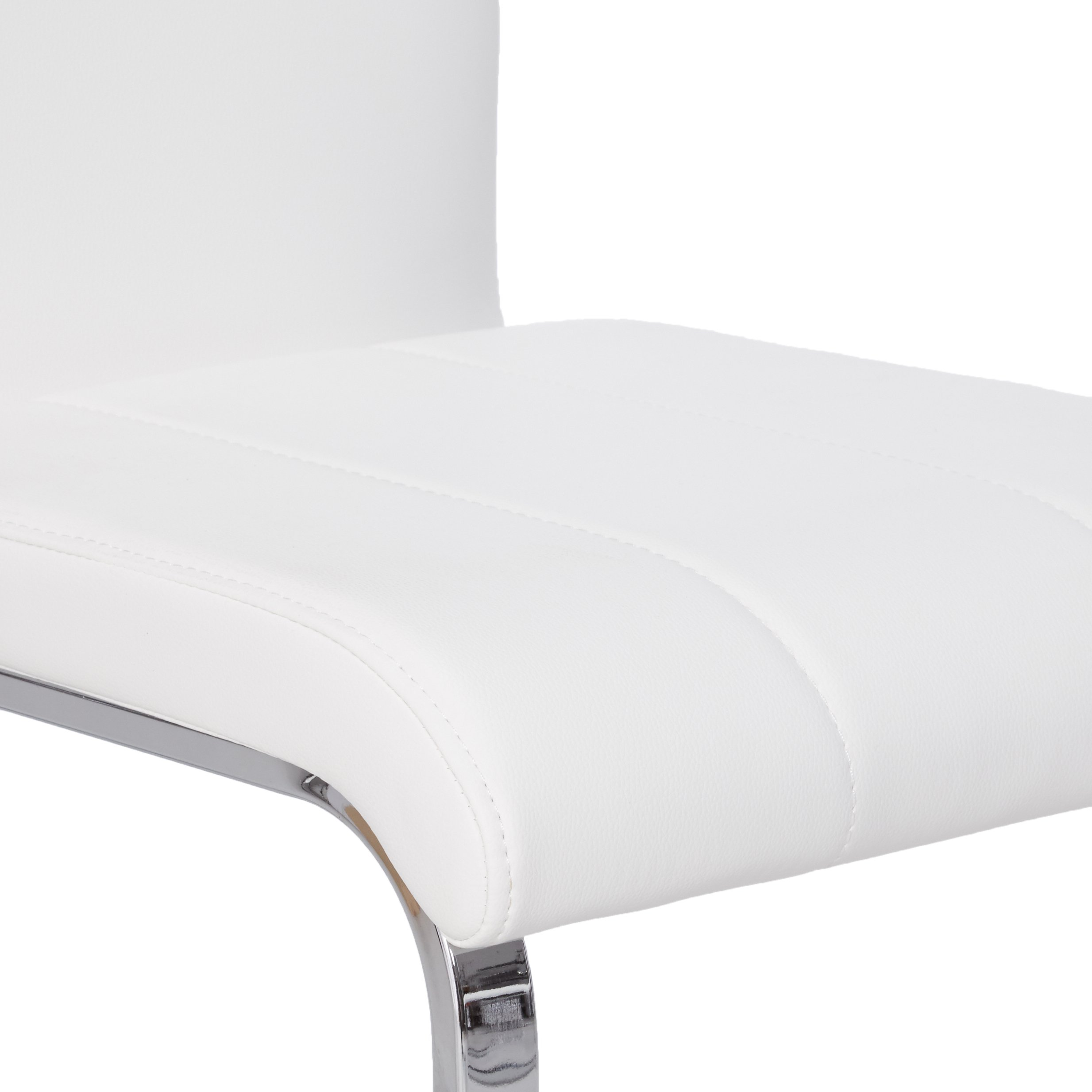 Faux Leather Dining Chairs Chrome and White (Set of 4) by Coaster Home Furnishings (Image #5)