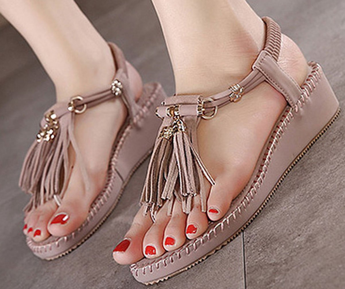 WAROFT Women's Adjustable Strap Fringe Heel Wedge Sandal Flip Flop Summer Beach Shoes B07CTJZVDN 7 B(M) US|Purple