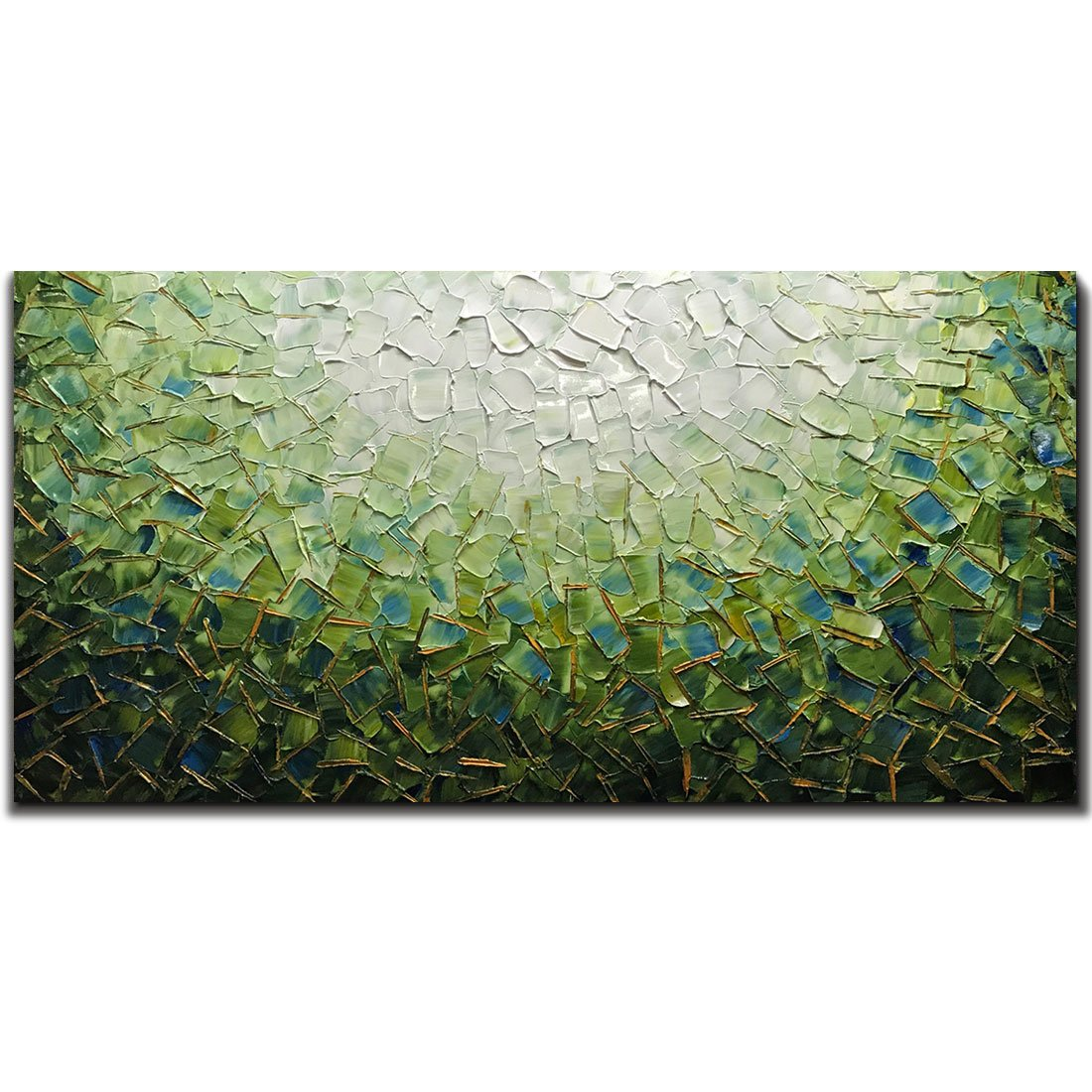 Yotree Paintings, 24x48 Inch Paintings Oil Hand Painting Painting 3D Hand-Painted On Canvas Abstract Artwork Art Wood Inside Framed Hanging Wall Decoration Green Teal Abstract Painting by Yotree