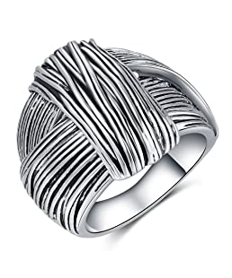 Shefashion Oxidized Silver Vintage Stripe Knot Rings Cocktail Rings for Women (8)