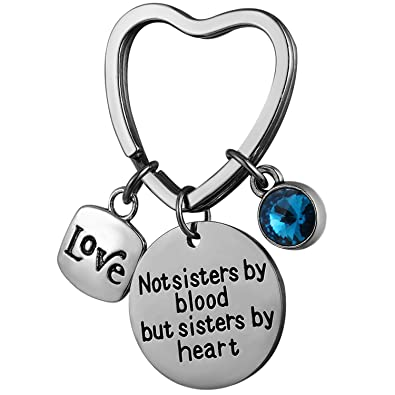 Best Friend Keychain Sister Jewelry Not Sisters by Blood But Sisters by  Heart Birthstone Keyring Birthday a57410c8f4